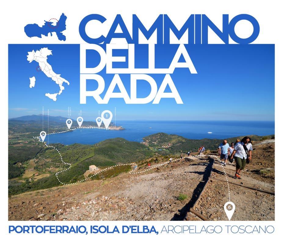 l'arrivo alla Fortezza del Volterraio nel Parco Nazionale dell'Arcipelago Toscano. Sullo sfondo Portoferraio-Cosmopoli. (foto di George Guida)
