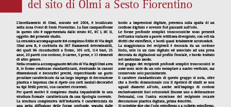 Il complesso fittile campaniforme del sito di Olmi a Sesto Fiorentino