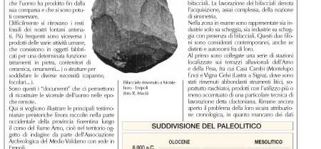 Brevi notizie sulla preistoria del Medio Valdarno