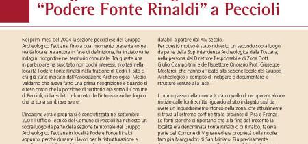 """Indagine archeologica in località """"Podere Fonte Rinaldi"""" a Peccioli"""