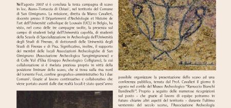Scavo archeologico in località Aiano