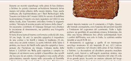 Nuova iscrizione latina della pieve di San Giuliano a Settimo