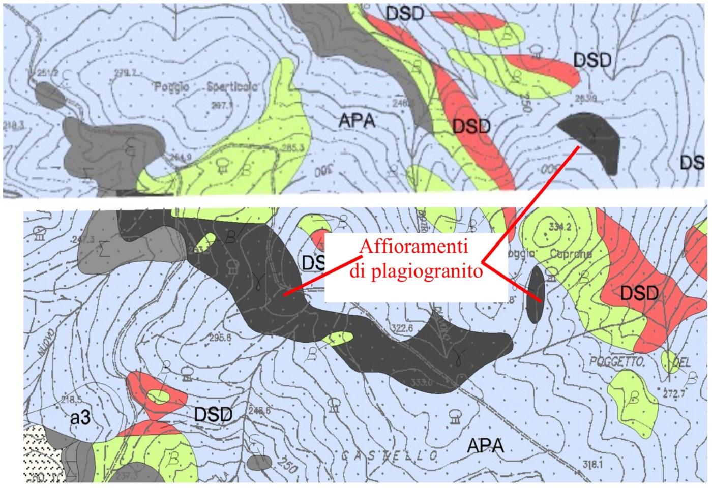 Fig. 6 -Stralcio della carta Geologica scala 1:10000 relativa all'area limitrofa di Poggio Caprone