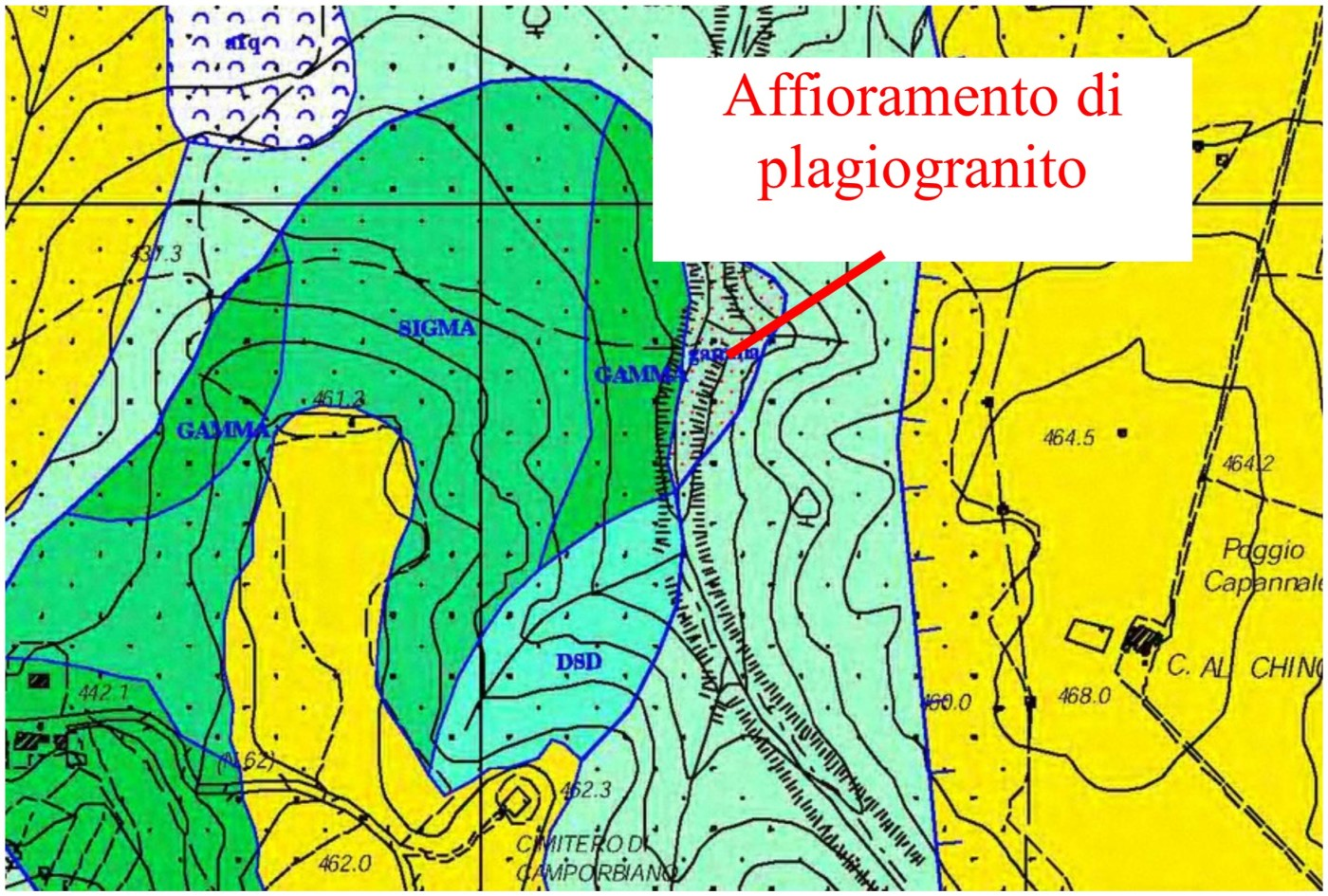 Fig. 7 -Stralcio della carta Geologica scala 1:10000 relativa all'area a nord di Camporbiano