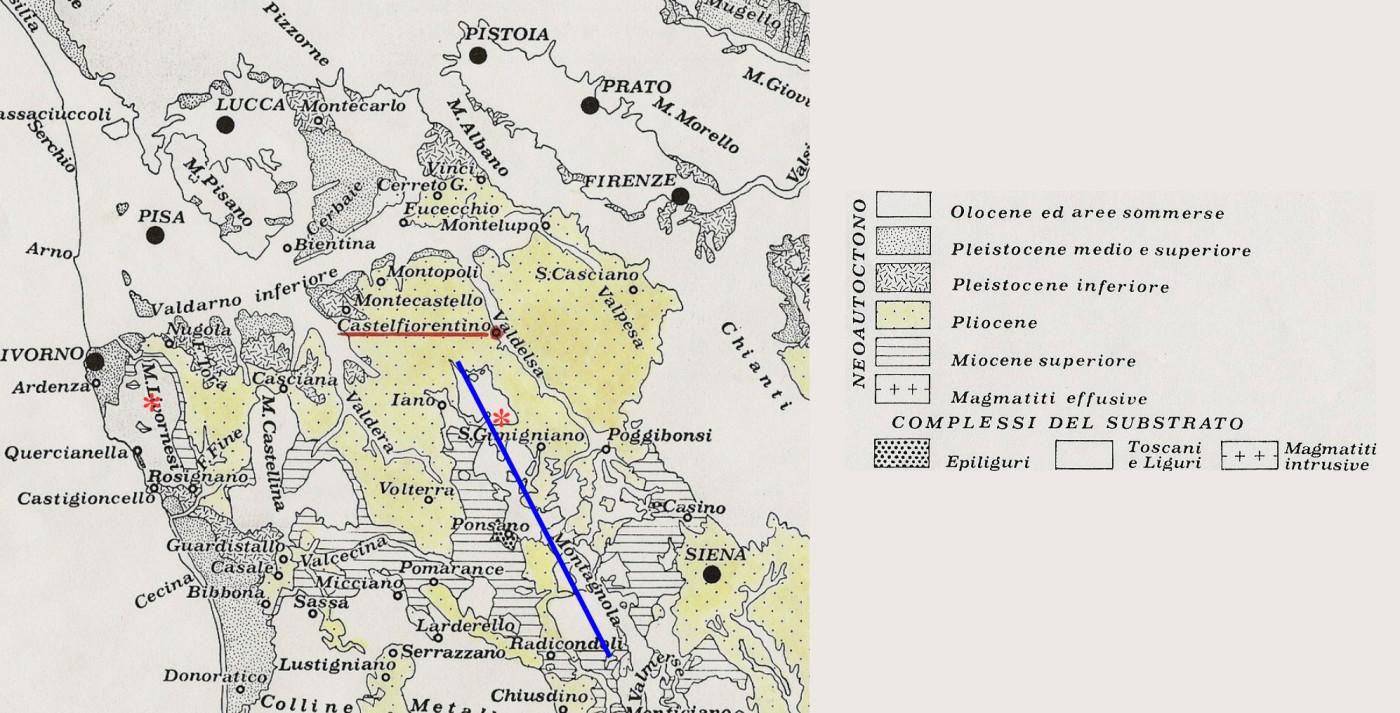 Fig. 10 – Bacini neogenici di sedimentazione. Indicati con asterisco rosso i siti di Poggio Caprone e di Borro dell'Acqua Calda e con linea azzurra la Dorsale Medio-Toscana (da Bossio et al.,1993 modificata)