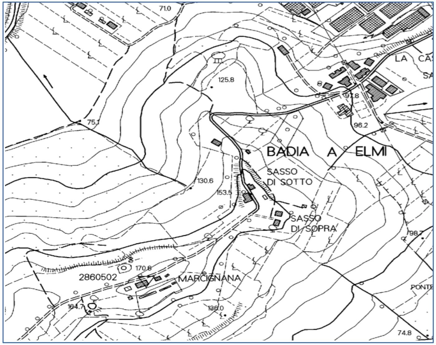 Fig. 15 – estratto della mappa topografica scala 1:10000 relativa all'area di Badia a Elmi da cui si evidenzia la morfologia della zona in cui si trova la località Sasso (da Cartoteca Reg.Toscana)